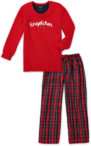 "Schiesser fille longue pyjama 2 pièces rouge /""mon ange/"" taille 104 116"
