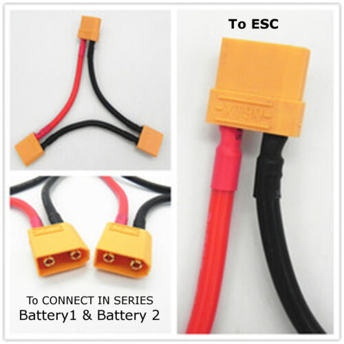 Series Cable AMASS BLACK XT90 Battery Harness//Adaptor 10AWG ARRMA