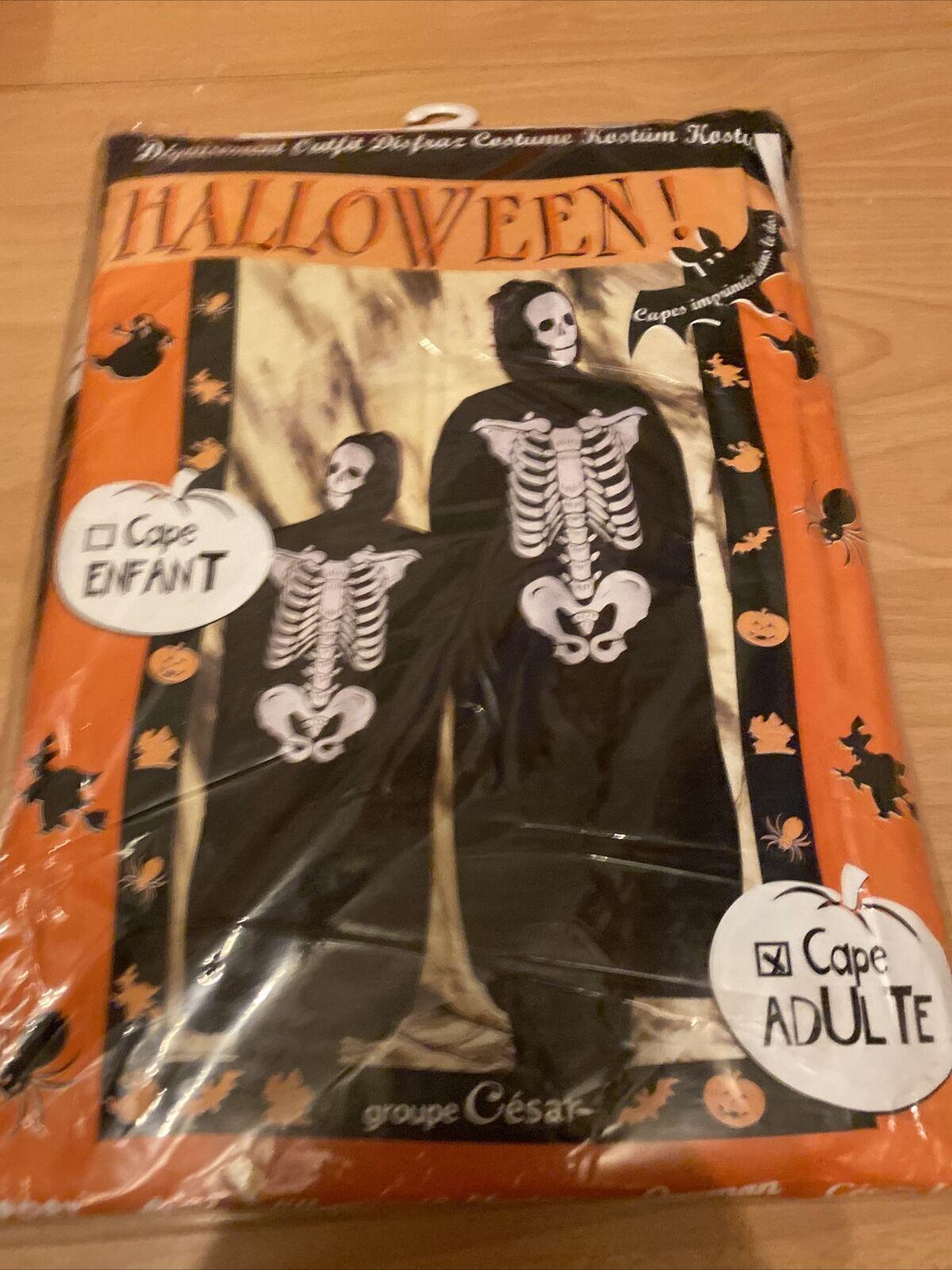 Halloween Unisex Scary Skeleton Cape Costume Horror Party Fancy Dress Accessory