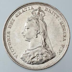 1887-Great-Britain-Shilling-KM-761-XF-AU-Condition