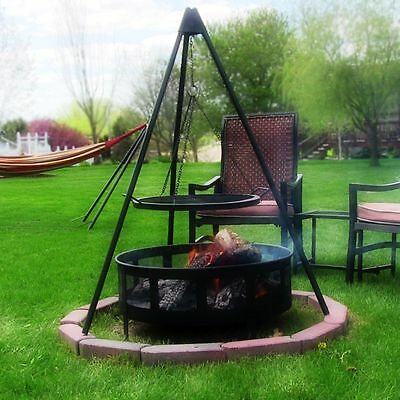 """Backyard Camping Fire Pit Tripod Grill with 22"""" Cooking Grate by Sunnydaze"""