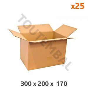 Caisse carton simple cannelure 300 x 200 x 170 mm (par 25)