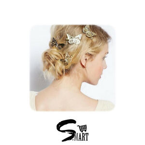 Details about FEMININE Butterfly Hair Clips Cute Accessories Gold Jewellery  Bobby Pins Hairpin