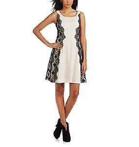 Jessica-Simpson-Dress-Sz-6-Vanilla-Black-Lace-Sides-A-Line-Cocktail-Party-dress
