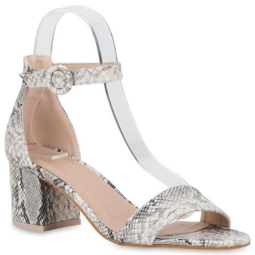 Damen Abiball Hochzeit Sandaletten Blockabsatz Absatzschuhe 830052 Trendy