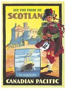 "Scotland Art Vintage Travel Poster Scottish Print 11x14/"" Rare Hot New XR182"