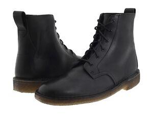 99a5ac2a42f Details about Men's Clarks Original Desert Mali Boot Black Leather 26110038