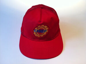 CHIEF AUTO WHOLESALE PARTS DIVISION VINTAGE GIMME CAP.  RED WITH BLUE AND GOLD.