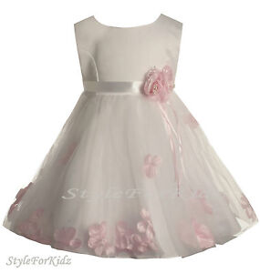 BABY GIRL WHITE/PINK FLOWERGIRL DRESS CHRISTENING WEDDING BRIDESMAID ...