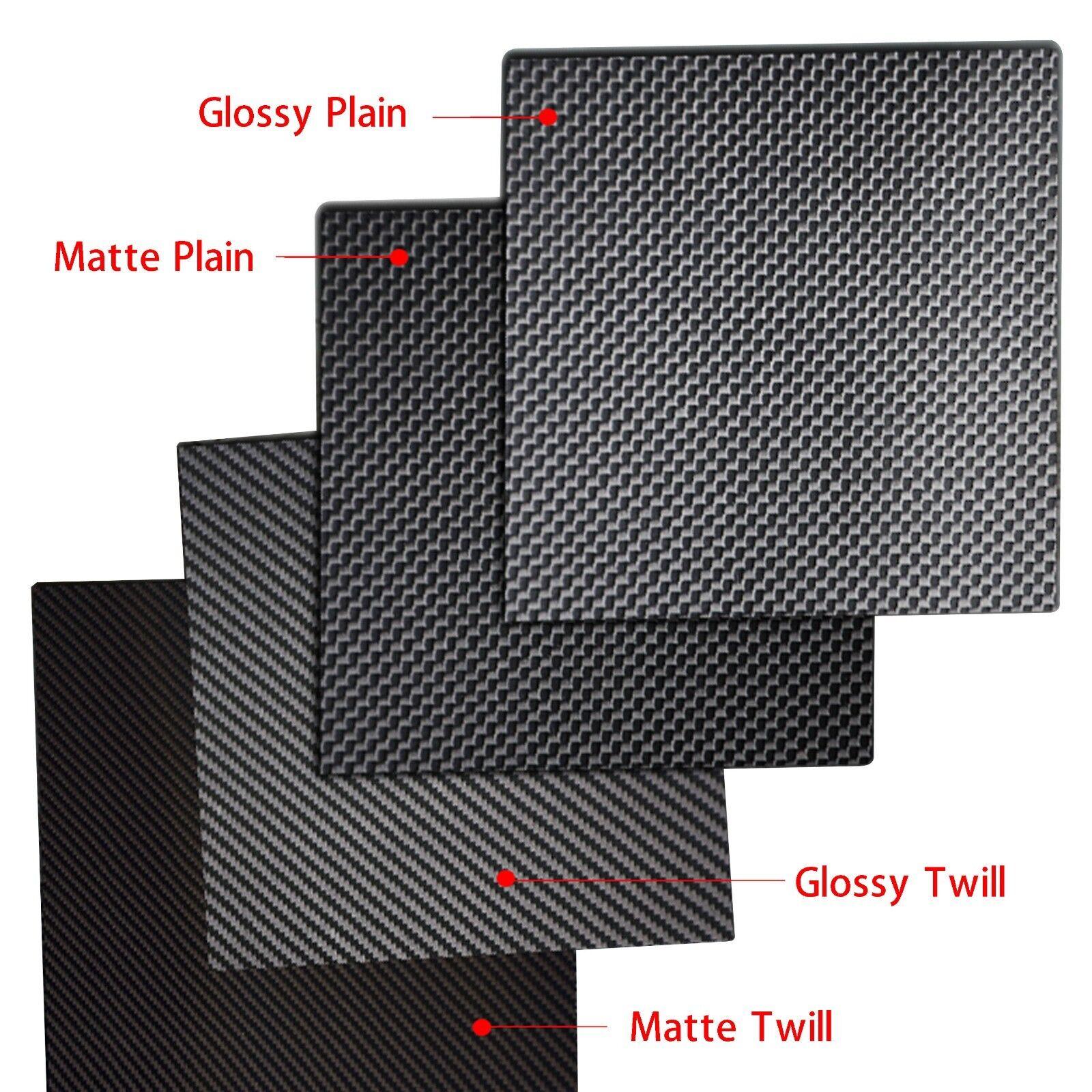 3K piastra in fibra di carbonio PANNELLO FOGLIO 2 tipi Weave Opaco e Lucido-Seleziona Taglia
