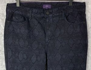NYDJ-Not-Your-Daughters-Jeans-Skinny-Dark-Blue-W-Snakeskin-Print-Womens-Sz-14