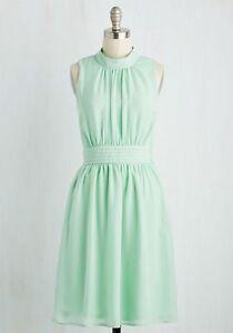 Modcloth Fervour Pastel Green Mint High Neck Retro Vintage Dress