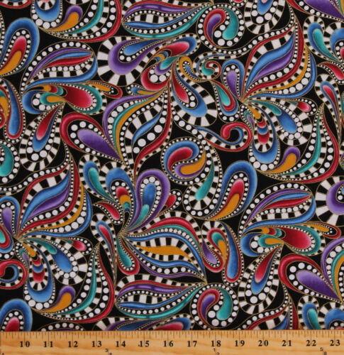 Colorful Paisleys Paisley Swirls Cat-i-tude 2 Cotton Fabric Print BTY D469.14