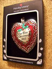 Harvey Lewis Ornament Swarovski Elements silver plate Our First Christmas 2012