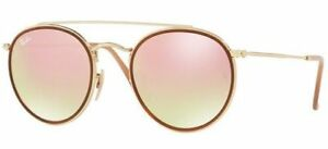 73fb716240 Sunglasses Ray-Ban Rb3647n Round Double Bridge 001 7o 51 Gold Mirror Pink