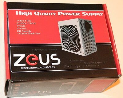 Zeus ATX 500W APFC PSU Desktop Power Supply PS Computer PC 120mm Silent Fan NEW