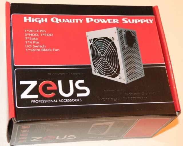 Zeus ATX 500W APFC PSU Desktop Power Supply PS Computer PC 120mm Silent Fan NEW
