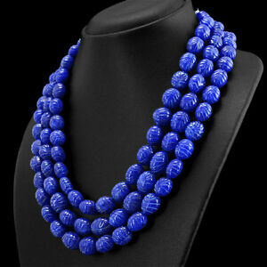 979-50-CTS-EARTH-MINED-3-STRAND-OVAL-CARVED-RICH-BLUE-SAPPHIRE-BEADS-NECKLACE