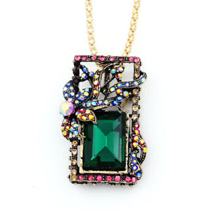 Betsey-Johnson-Colorful-Crystal-Rhinestone-Square-Pendant-Necklace-Brooch-Pin