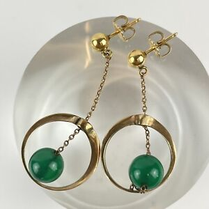 Vintage 9ct Yellow Gold Tested Died Green Agate Drop Earrings 4.6cm