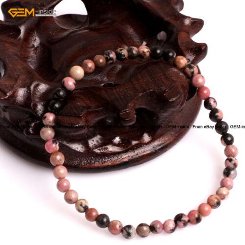 "Natural Round Gemstone Rhodonite perles stretch bracelet 7/"" St Valentin Cadeau"