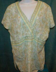 DRESSBARN-MultiColor-Floral-Print-Cap-Sleeve-V-Neck-Blouse-Top-Women-039-s-1X