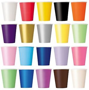 14-Paper-CUPS-9oz-Plain-Solid-Colours-Birthday-Party-Tableware-Catering
