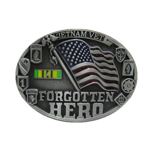 VTR-02 Vietnam Veteran Belt Buckle American Flag Military Soldier