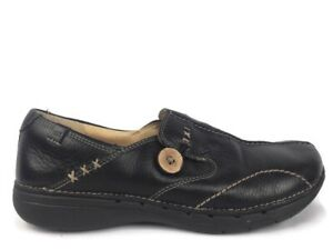 Clarks Structured Womens Loafers Black