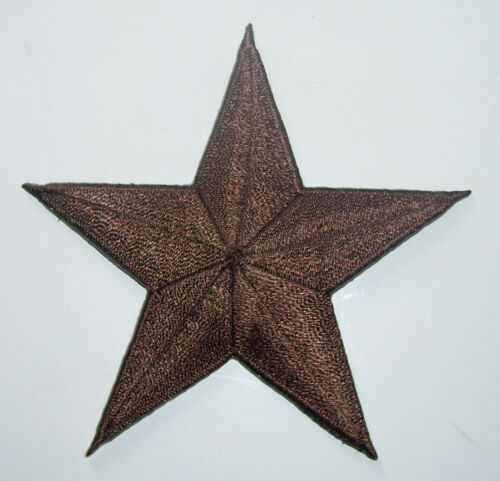 144 BROWN 3 inch iron on star patch applique kid embellishment punk rockabilly