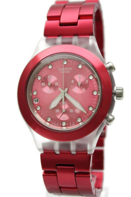 6862f21ce5c New Swatch Irony Full Blooded Rasberry Chronograph Watch 43mm SVCK4050AG   160