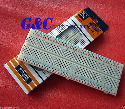 2PCS MB102 Breadboard 830 Point Solderless PCB Bread Board Test Develop DIY