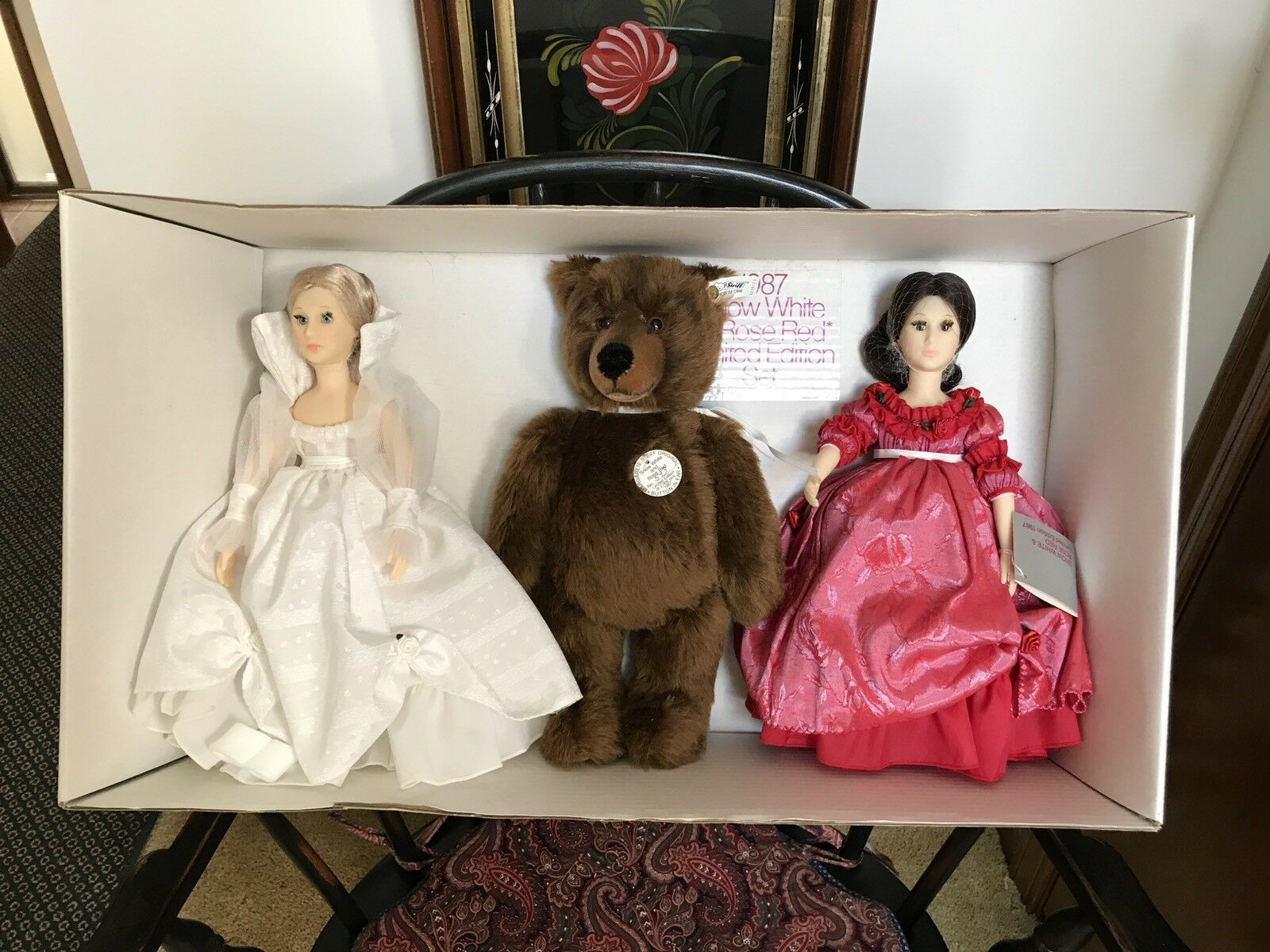 Vintage Steiff Bear Suzanne Gibson 1986 Snow bianca And Rose rosso In Original Box