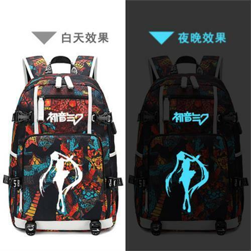 Hatsune Miku Backpack USB Luminous Bags Teenage Travel Schoolbags Fan Edition