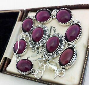 Vintage-Amethyst-Purple-Glass-Small-Oval-Cabochon-Bracelet-Earring-Set