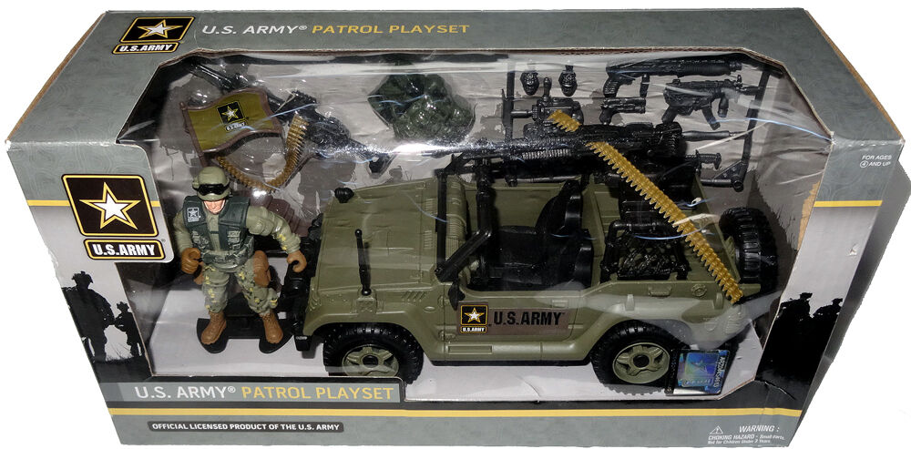 Official U.S. Army Patrol Playset W  Action Figure 3.75  Scale MIB Jeep Toy USA