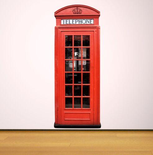 RED PHONE BOX telephone Vintage retro wall sticker decal vinyl LONDON SCENE