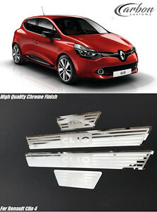 renault clio iv clio 4 2014 2017 stainless steel door sill protector plates set ebay. Black Bedroom Furniture Sets. Home Design Ideas