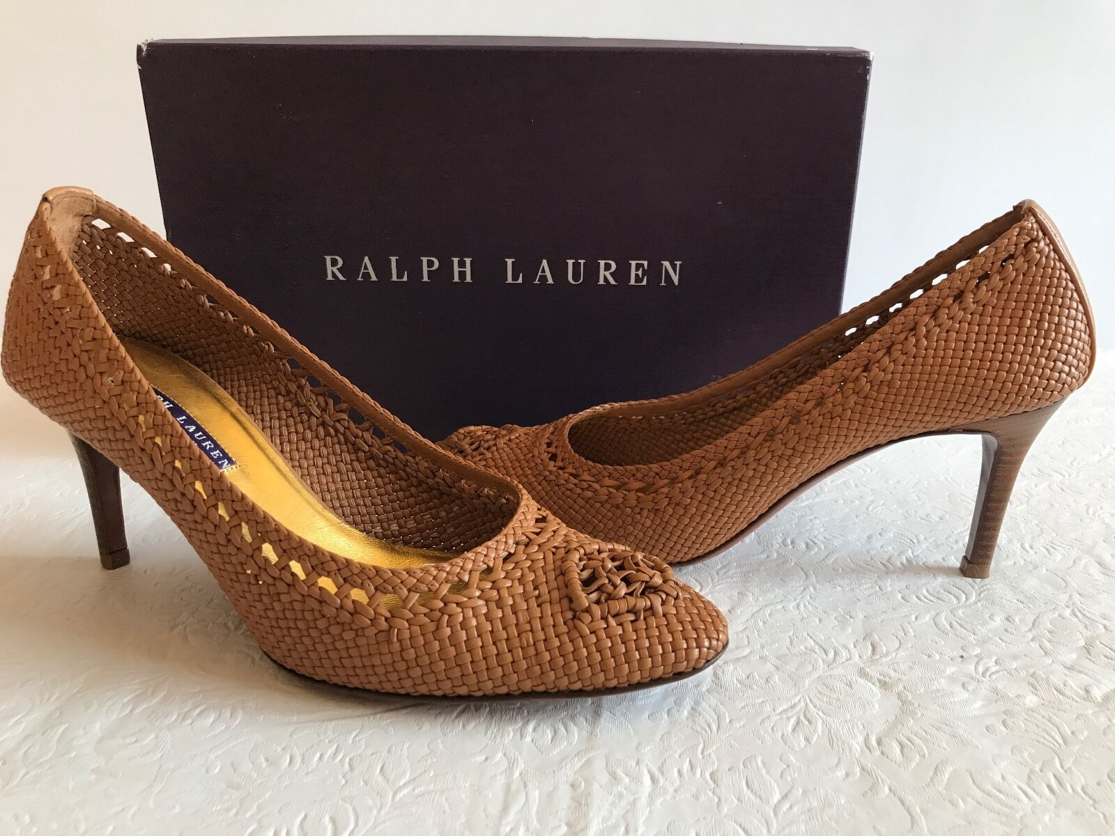 Ralph Lauren viola  Label Collection Leather PUMPS 8.5 B Made in  Polo Tan  prezzi equi