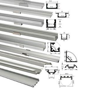 led aluprofil 1m 2m f r led streifen abdeckung alu ebay. Black Bedroom Furniture Sets. Home Design Ideas