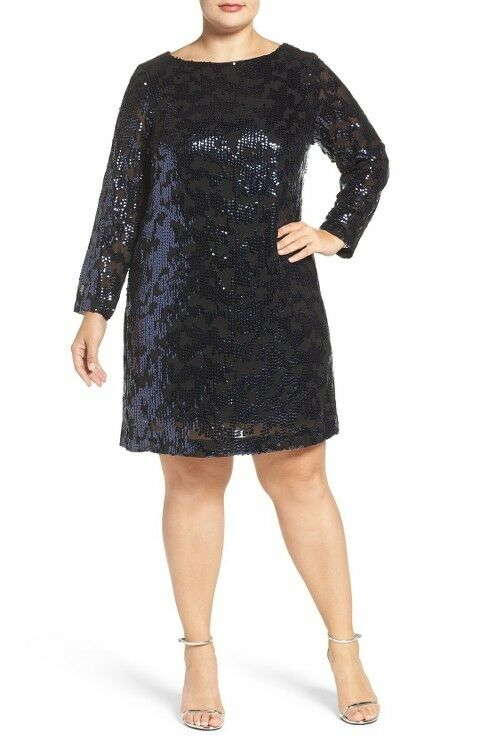 VINCE CAMUTO Sequin Long Sleeve Shift Dress (size 14W)
