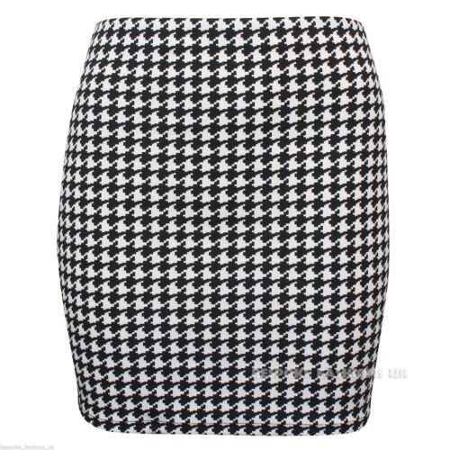 Womens Ladies Celeb Dogtooth Pencil Short Mini Skirt Crop Top Plus Size SM-XXL