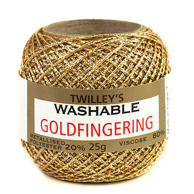 Twilleys Goldfingering Metallised Polyester 5 Count Crochet Crafting Yarn 25g
