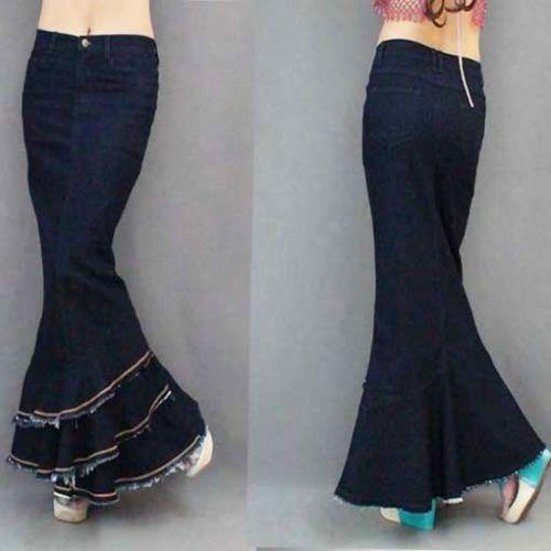 Ladies Slim Jeans Gypsy Light Denim Fish Tail Ultra Stylish Maxi Long Skirt Sexy