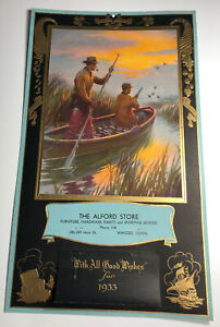 1933 Art Deco Advertising Calendar Sign Duck Hunters Winsted Connecticut Minty