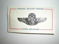 USAF MASTER AIRCREW WINGS BADGE - SMALL - SILVER OXIDIZED