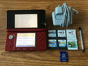 Nintendo 3DS Flame Red Handheld System Console Bundle +6 Games & Charger