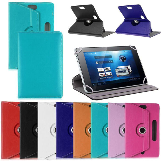 FT- Faux Leather Tablet PC Case Cover 360° Rotating Stand Universal Holder Eage