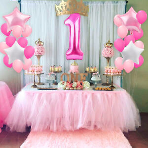 21pcs 1st Birthday Foil Balloons Party Decor Set Number