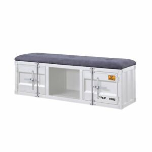Groovy Details About Acme Cargo Storage Bedroom Bench In Gray Fabric White Gmtry Best Dining Table And Chair Ideas Images Gmtryco